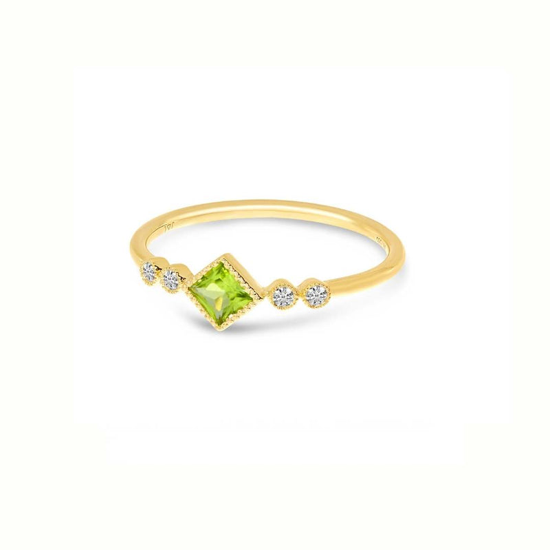 14k Princess Peridot and Diamond Ring
