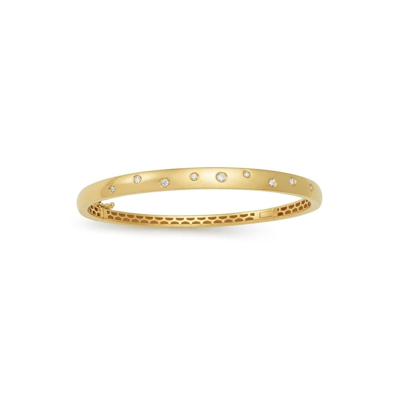 18k Shiny Bangle with Diamonds