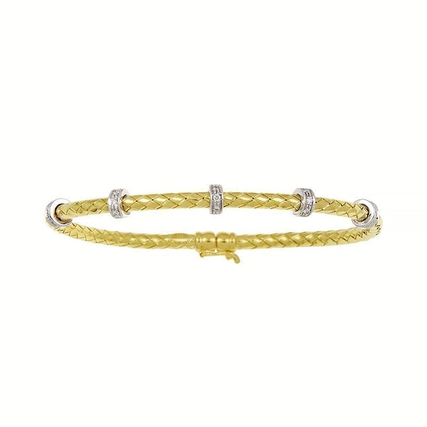 18k Gold Woven Bracelet with Diamonds