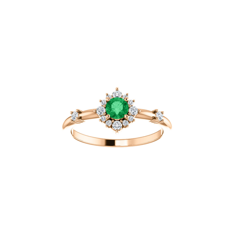14k Arcelia Emerald & Diamond Ring