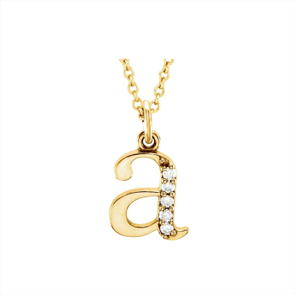 14k Diamond Lowercase Initial Necklace