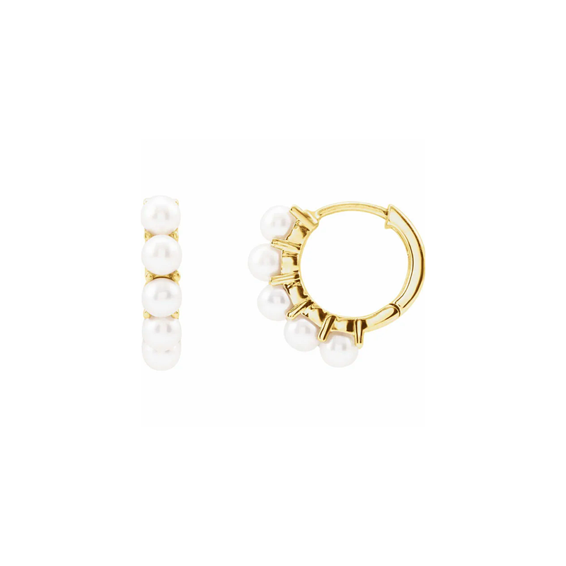Mini Pearl Gold Hoop Earrings