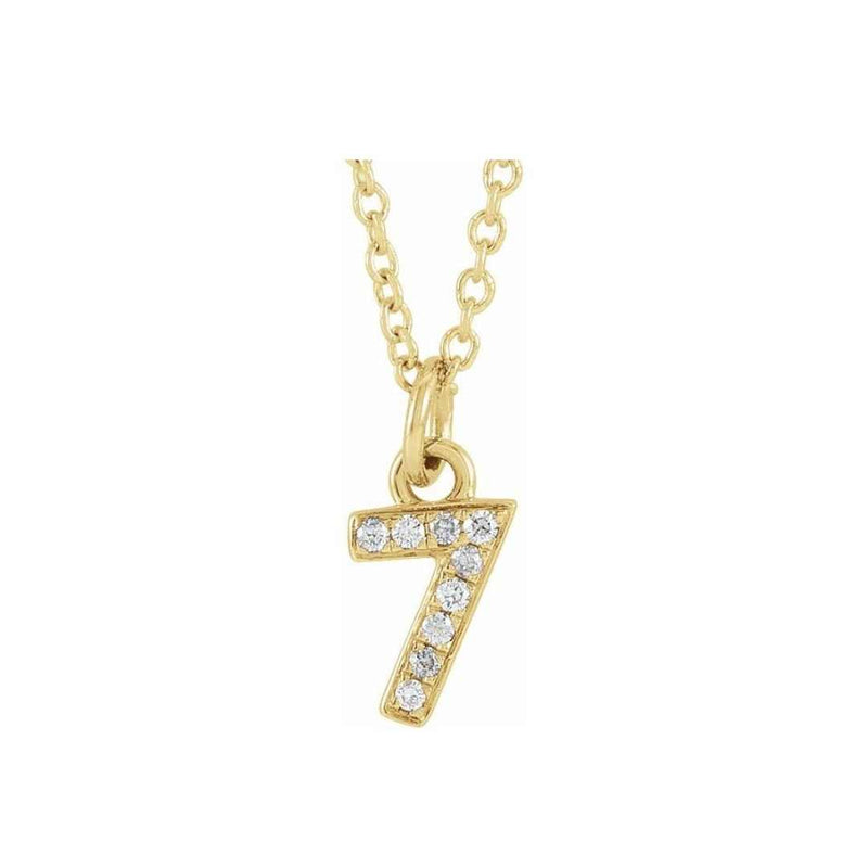 14k Petite Number Necklace