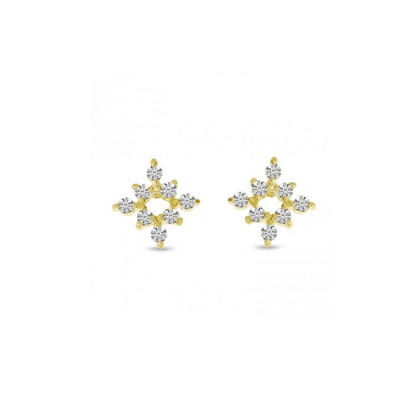 14k Gold Diamond Mini Starburst Stud Earrings