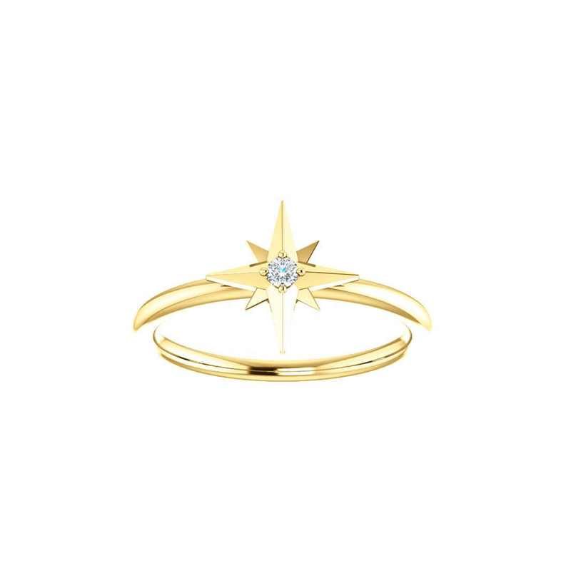 14k Dainty Diamond Star Ring