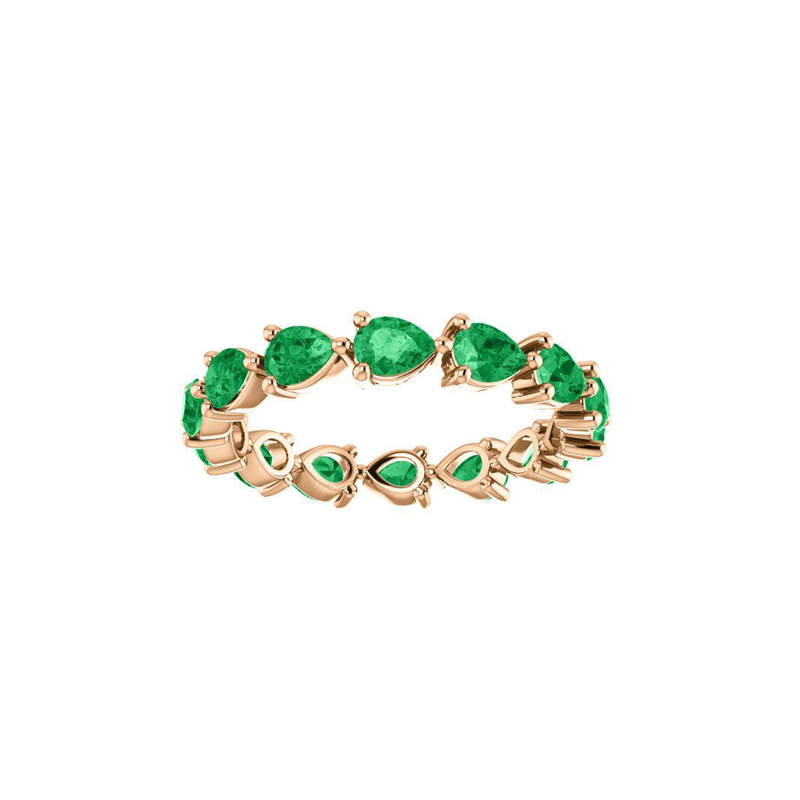 18k Gold Emerald Pear Ring