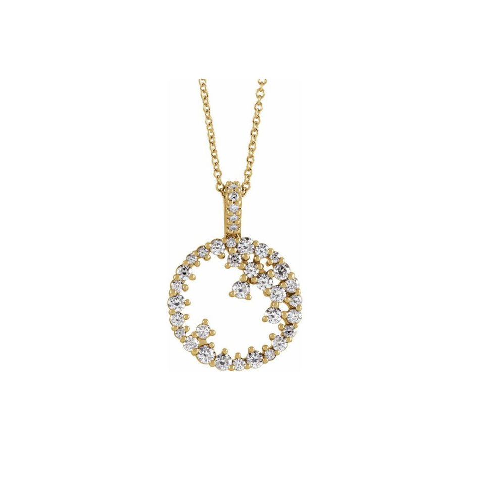 Diamond Scattered Circle Necklace - YAREMA JEWELRY