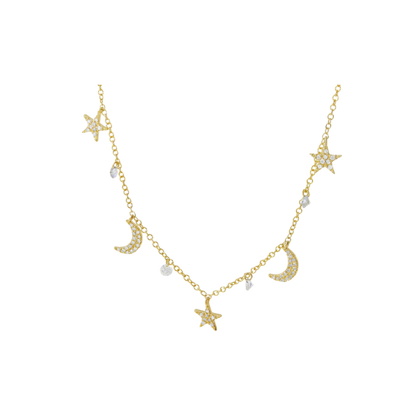 14k Gold Moon and Stars Pierced Diamonds Necklace