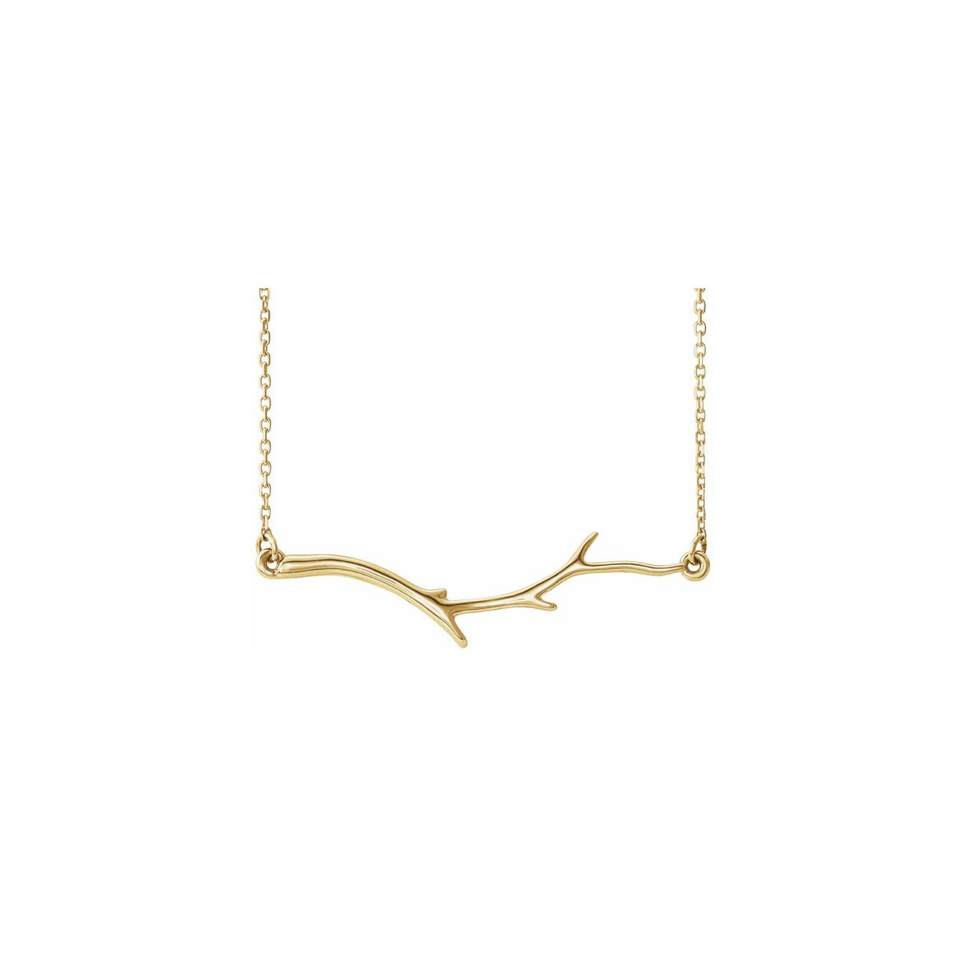 14K Branch Bar Necklace - YAREMA JEWELRY