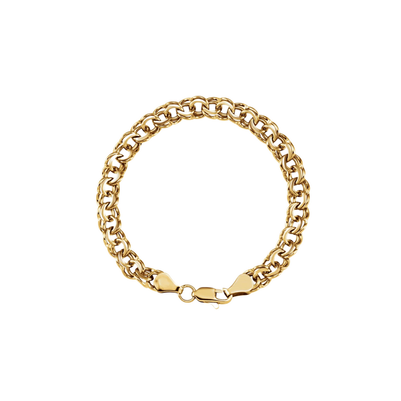 "14K Solid Gold ""Double-Trouble"" Bracelet"