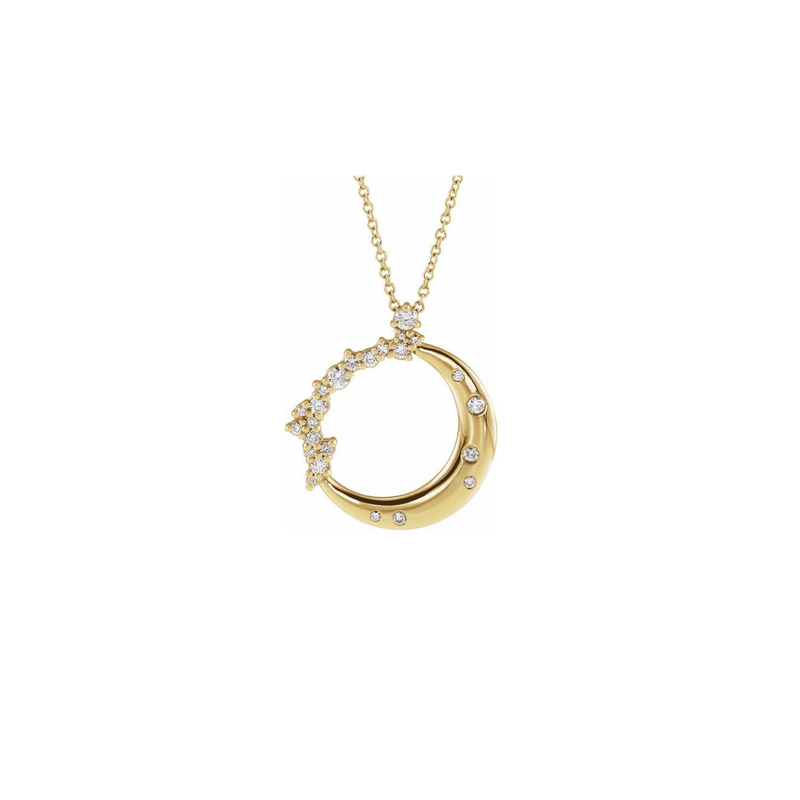 14k Gold Crescent Diamond Necklace