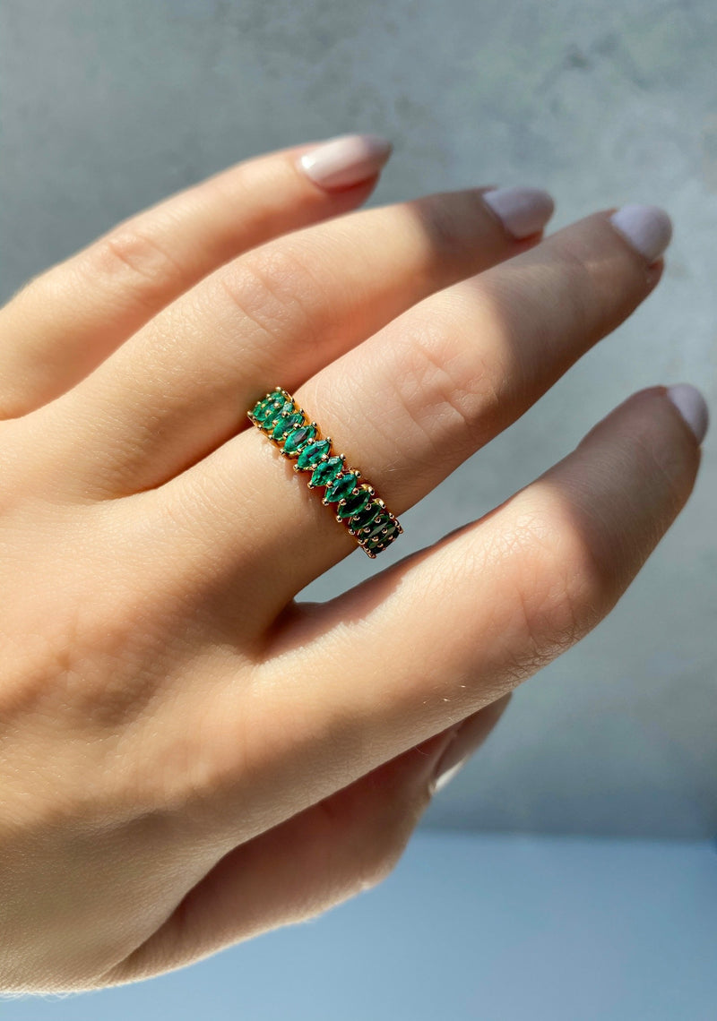 18k Gold Emerald Eternity Ring