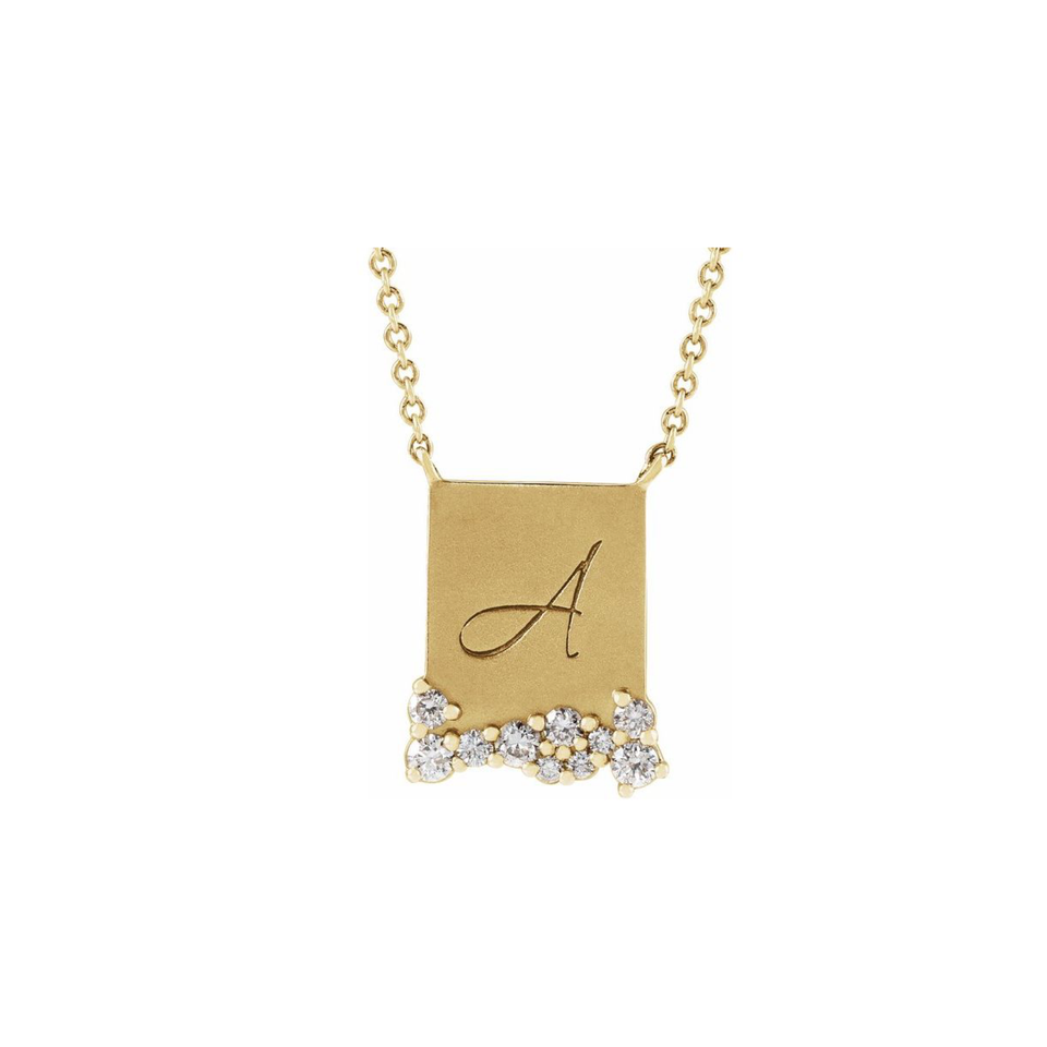 14k Engravable Diamond Necklace