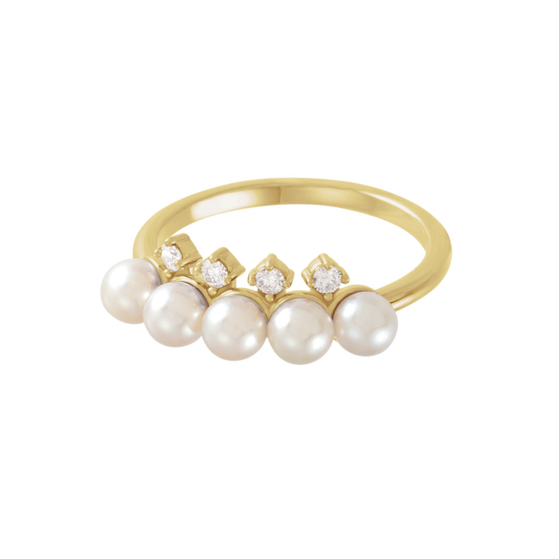 Akoya Cultured Pearl & Diamond Stackable Ring - YAREMA JEWELRY