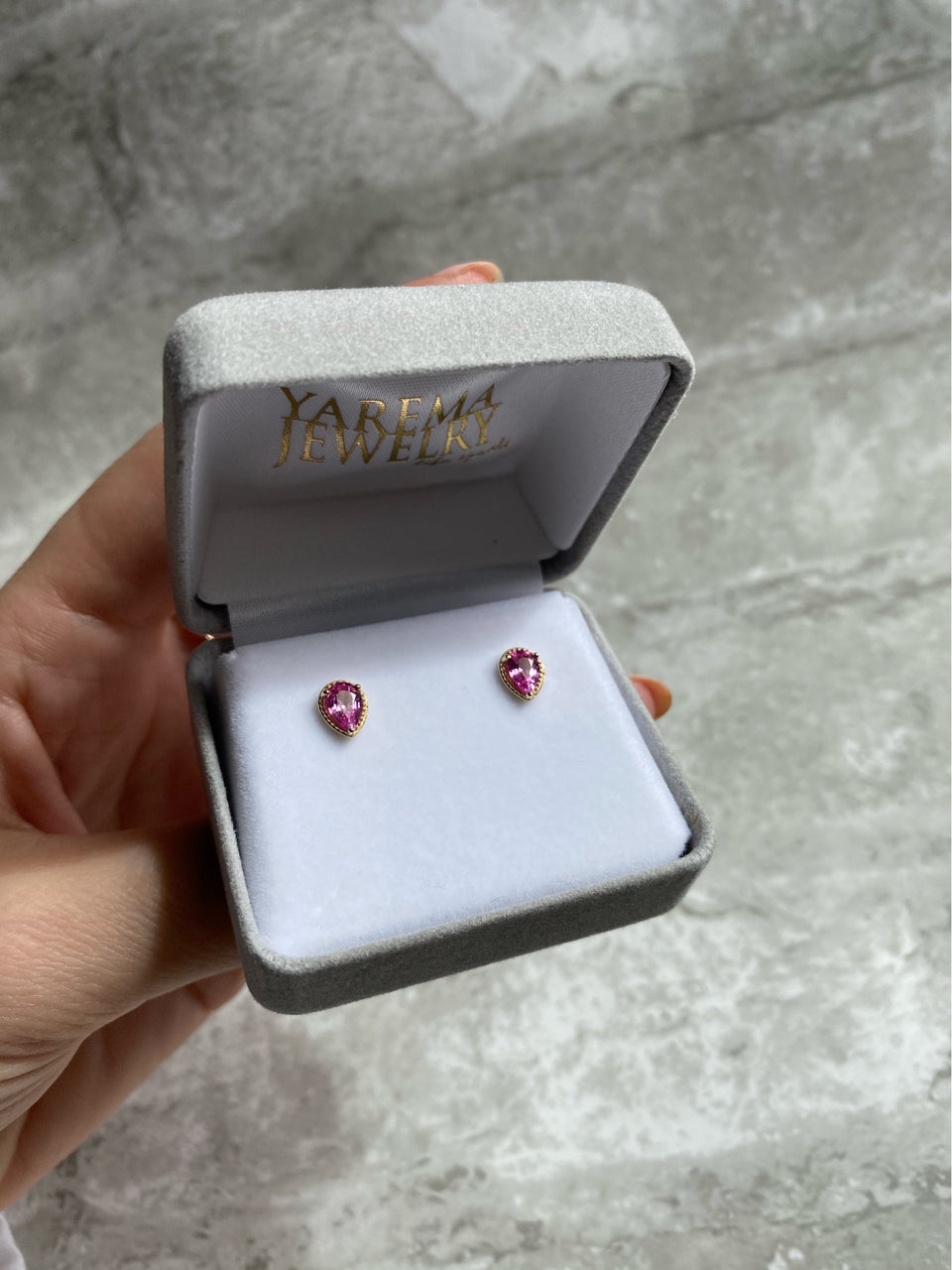 14k Gold Pink Sapphire Earrings