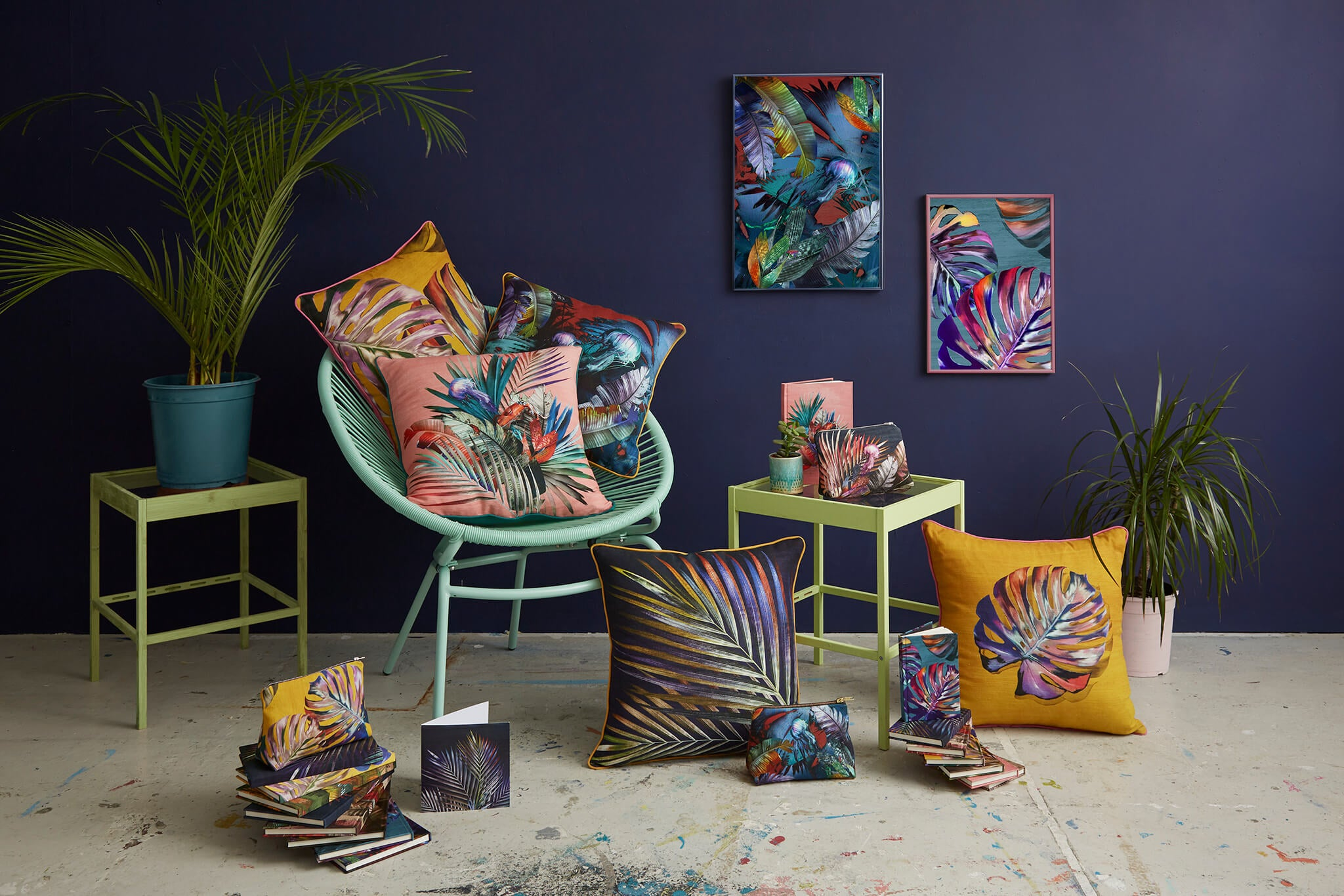 Leila Vibert-Stokes sustainable colourful homewares, cushions, prints