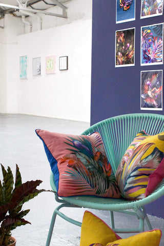 Leila Vibert-Stokes collection of colourful sustainable luxury cushions