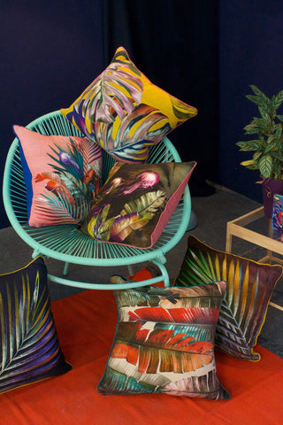 Leila Vibert-Stokes colourful printed tropical sustainable printed cushions at the collection launch