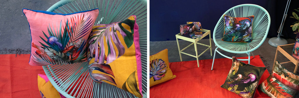 Leila Vibert-Stokes colourful printed tropical sustainable textile and interiors collection launch