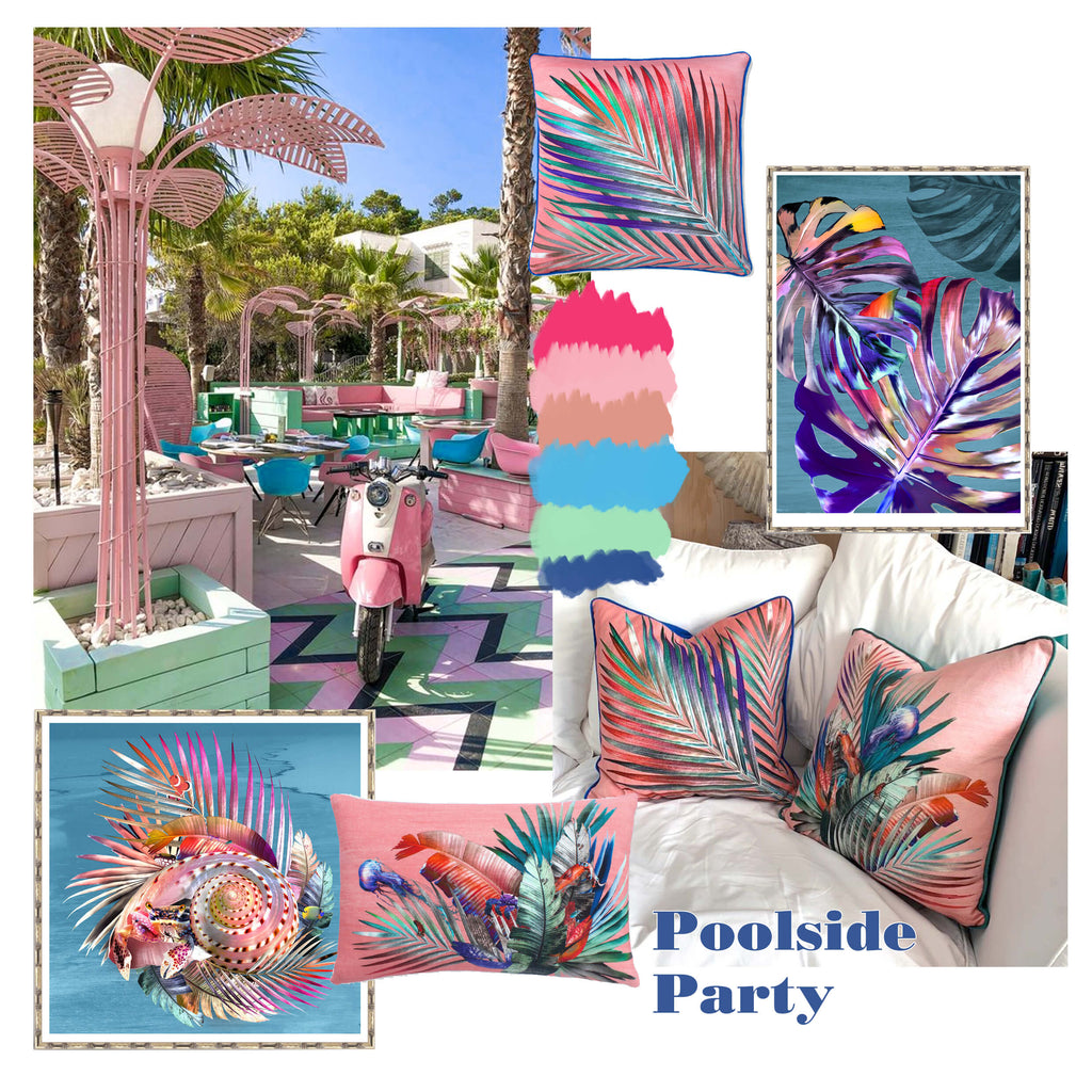 Leila Vibert-Stokes pink interiors poolside party