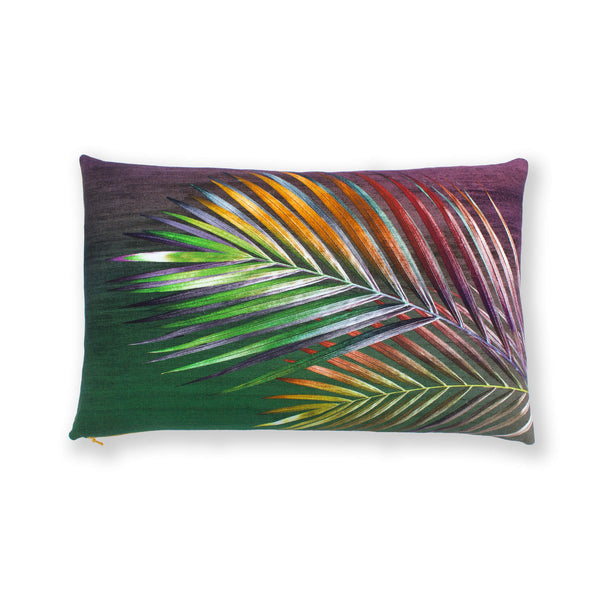Palm leaf arecace print cushion front by Leila Vibert-Stokes