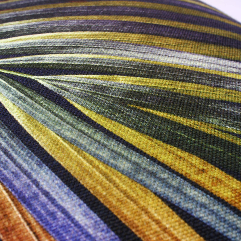 Close Up navy and gold tropical palm leaf sustainable linen scatter cushion by Leila Vibert-Stokes