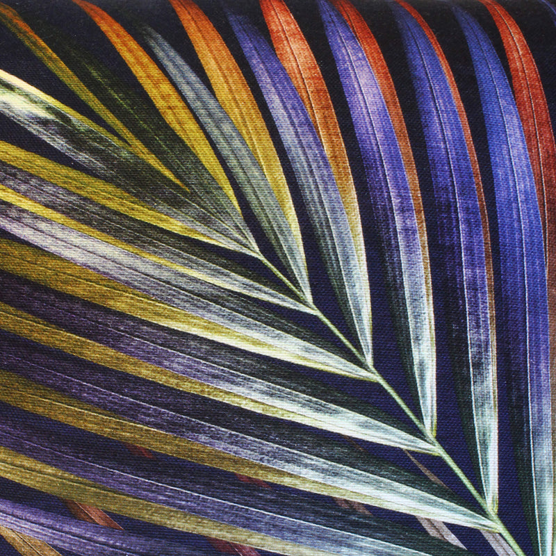 closed up navy and gold tropical palm leaf sustainable linen scatter cushion by Leila Vibert-Stokes