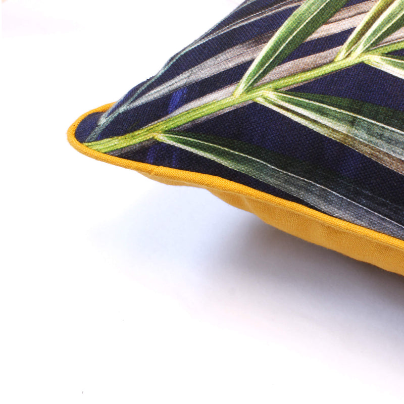 Corner navy and gold tropical palm leaf sustainable linen scatter cushion by Leila Vibert-Stokes