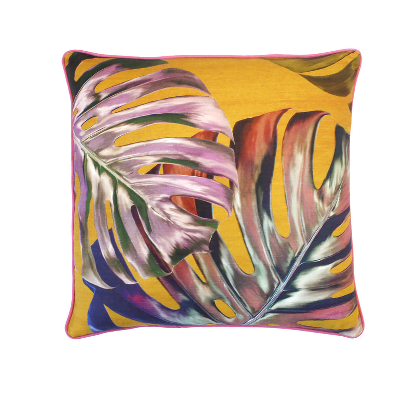 Double leaf Gold Monstera Cushion