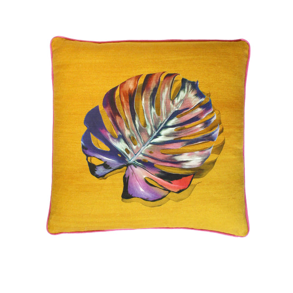 Single leaf Gold Monstera Cushion