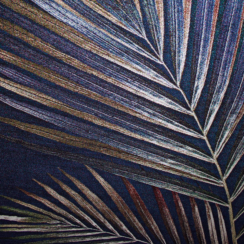 Woven Navy Palm Leaf Throw