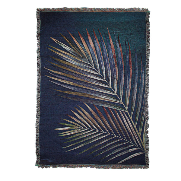 Navy Palm Leaf Throw