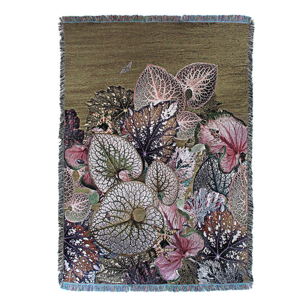English Garden Botanical Leaf Woven Throw