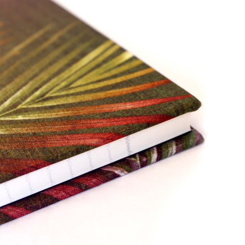 Cornet brown and pink palm leaf tropical print luxury silk tencel covered notebook by leila Vibert-Stokes