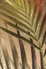 Close up cream and gold palm leaf tropical print luxury silk tencel covered notebook by Leila Vibert-Stokes