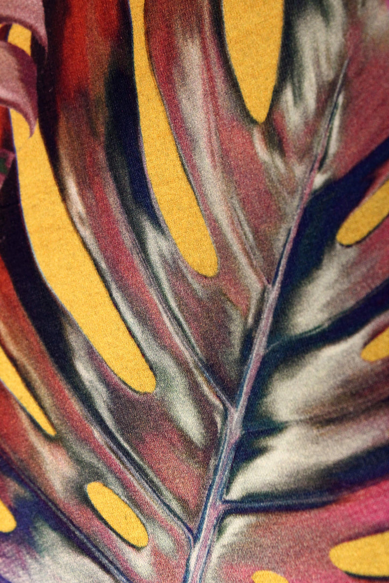 Close up yellow and pink monstera cheese plant print luxury silk tencel covered notebook by Leila Vibert-Stokes