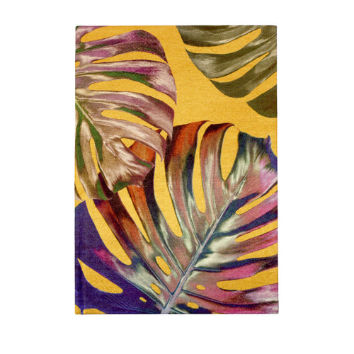 Front yellow and pink monstera cheese plant print luxury silk tencel covered notebook by Leila Vibert-Stokes