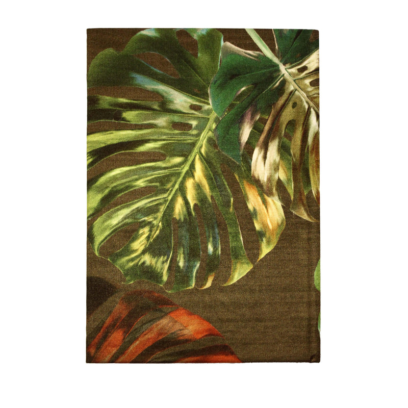Back khaki green monstera cheese plant print luxury silk tencel covered notebook by Leila Vibert-Stokes