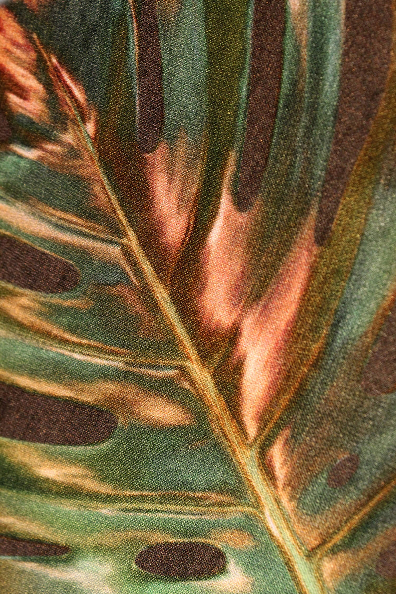 Close Up khaki green monstera cheese plant print luxury silk tencel covered notebook by Leila Vibert-Stokes