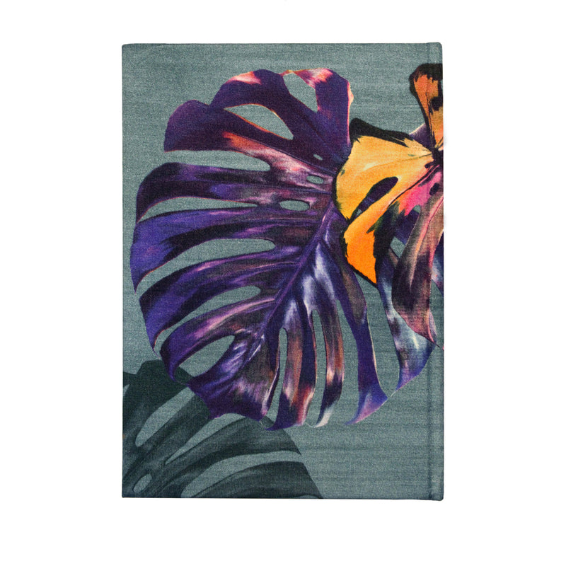 Front blue turquoise and pink monstera cheese plant print luxury silk notebook by Leila Vibert-Stokes