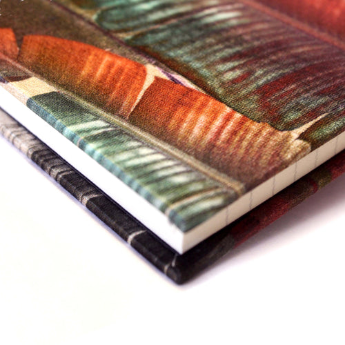Corner cream banana leaf print luxury silk notebook by Leila Vibert-Stokes