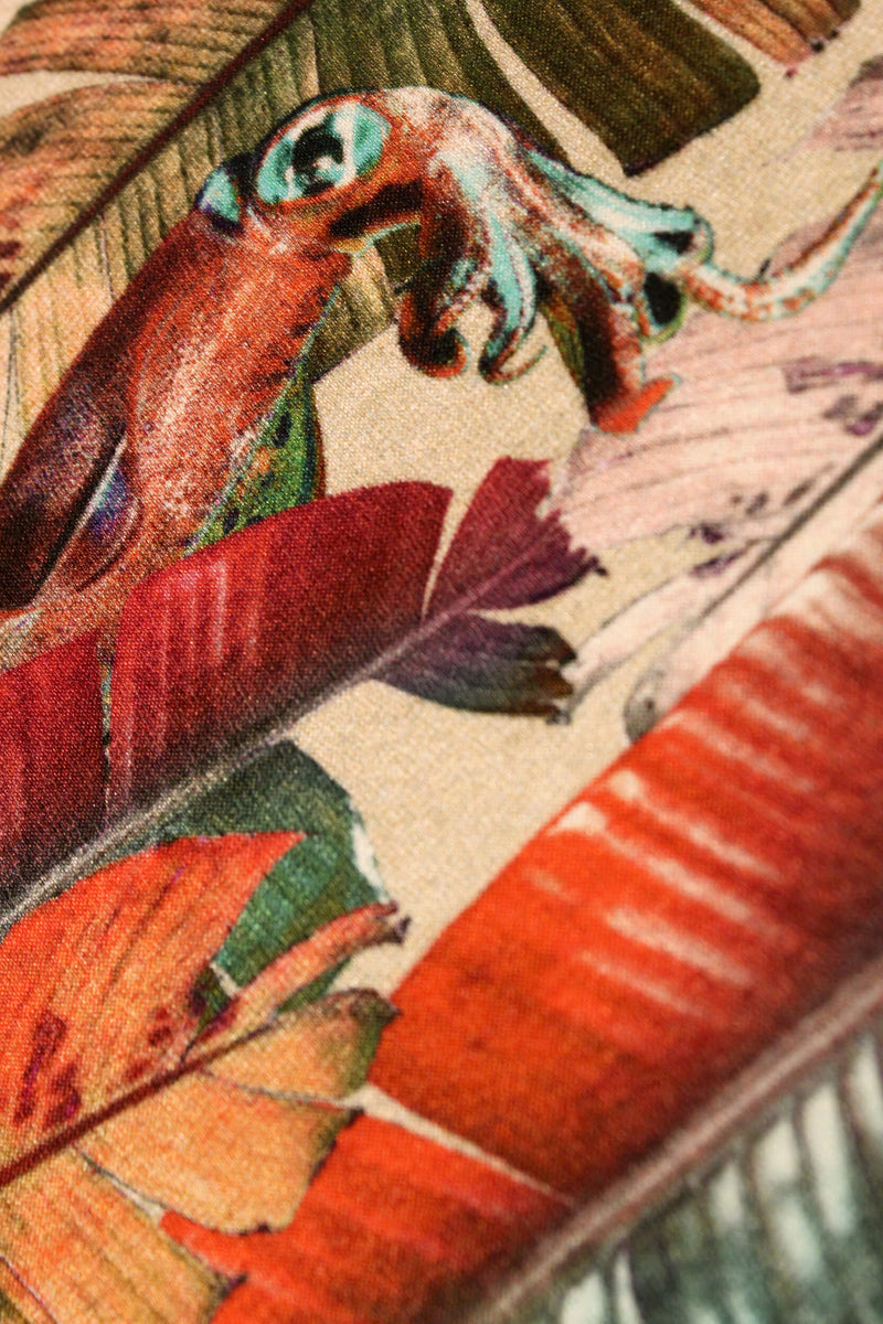 Close Up cream banana leaf print luxury silk notebook by Leila Vibert-Stokes