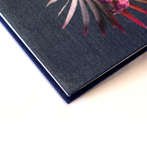 Corner navy tropical palm leaf print luxury silk notebook by Leila Vibert-Stokes