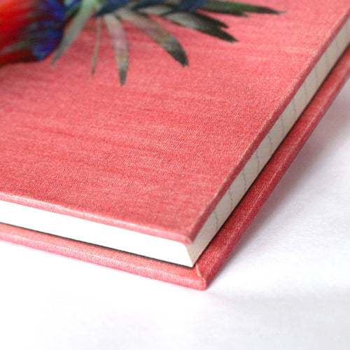 Corner pink tropical palm leaf print luxury silk notebook by Leila Vibert-Stokes