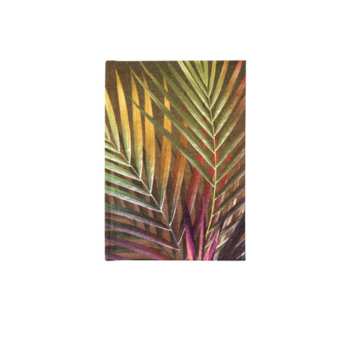 Front brown and pink palm leaf tropical print luxury silk tencel covered notebook by leila Vibert-Stokes