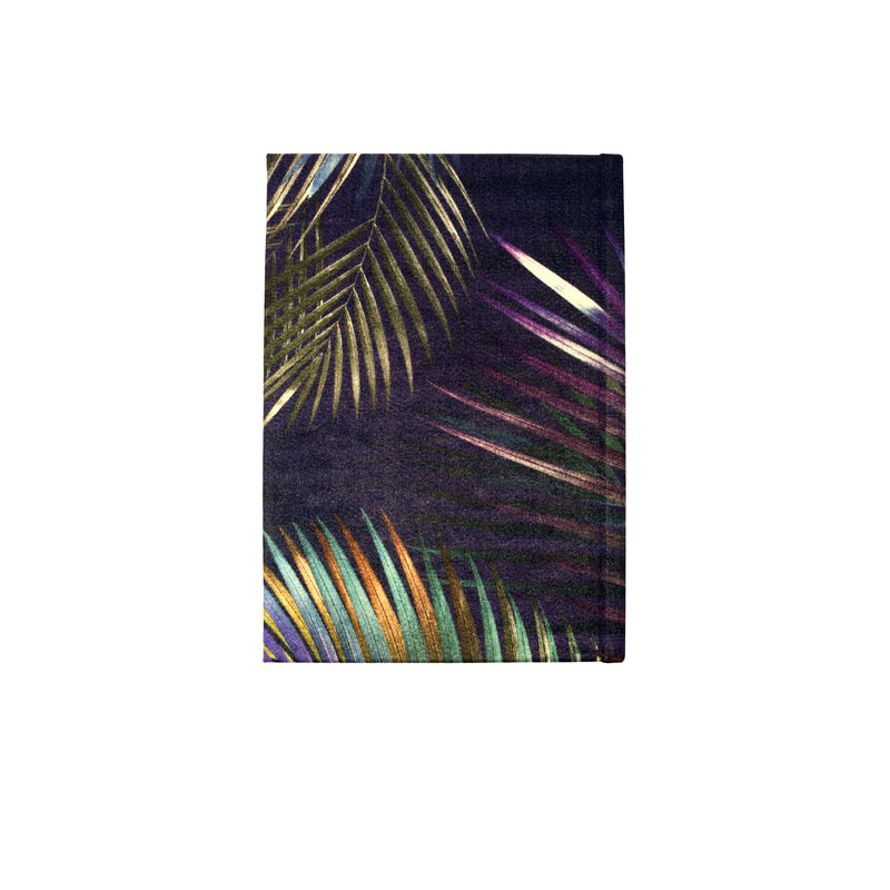 Back navy silver palm leaf tropical print luxury silk tencel covered notebook by leila Vibert-Stokes