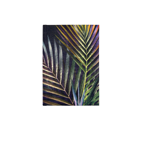 Front navy silver palm leaf tropical print luxury silk tencel covered notebook by leila Vibert-Stokes