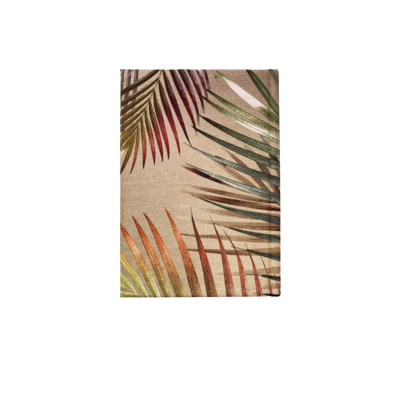 Back cream and gold palm leaf tropical print luxury silk tencel covered notebook by leila Vibert-Stokes