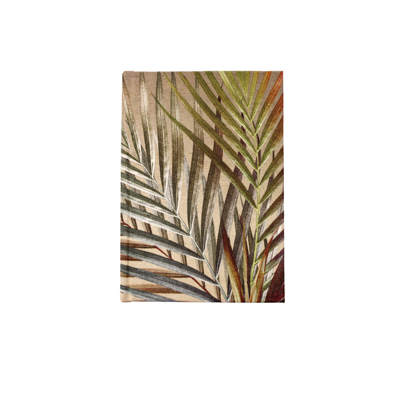 Front cream and gold palm leaf tropical print luxury silk tencel covered notebook by leila Vibert-Stokes