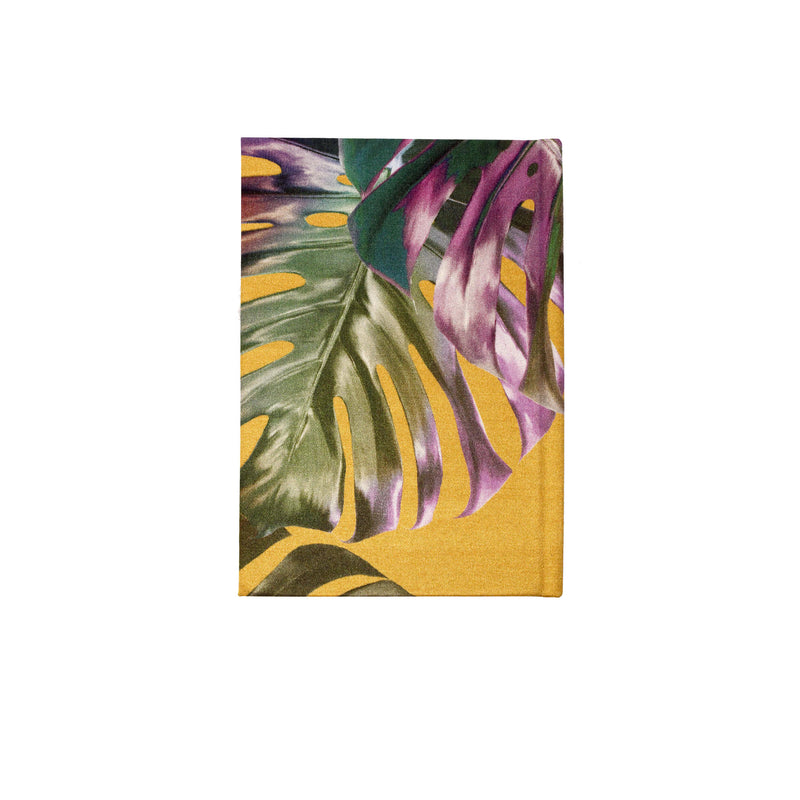Back yellow and pink monstera cheese plant print luxury silk tencel covered notebook by Leila Vibert-Stokes